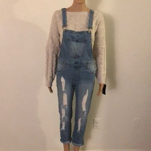 Pants - NWOT Distressed overalls - light wash - Sz Med